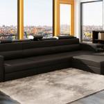 Ъглов диван от черна естествена кожа